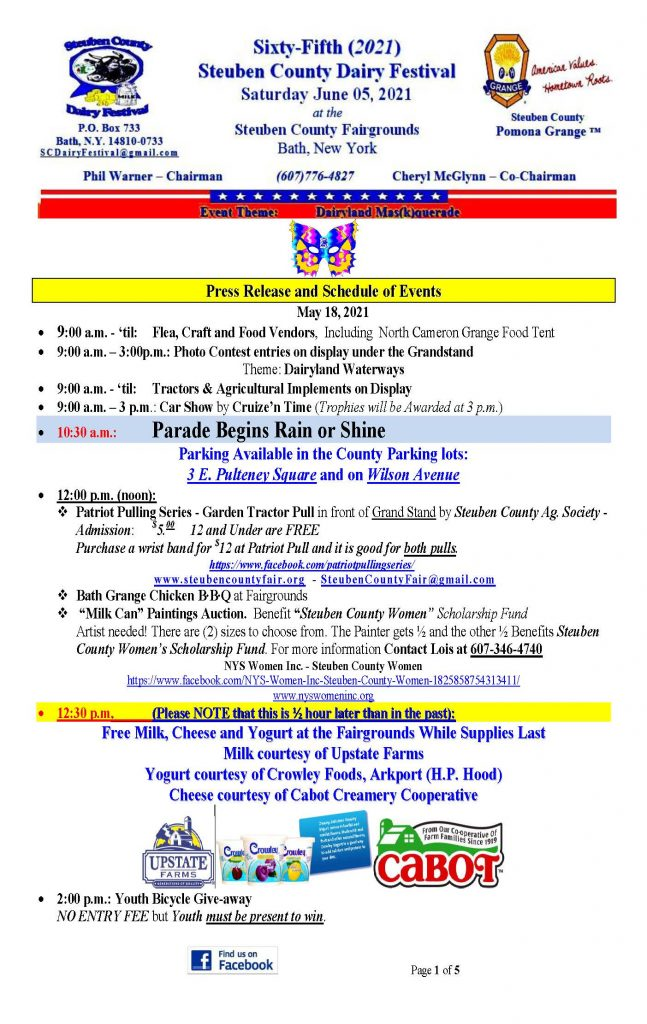 2021 DF Press Release Page 1 647x1024 - Steuben County Dairy Festival Parade and Events Schedule
