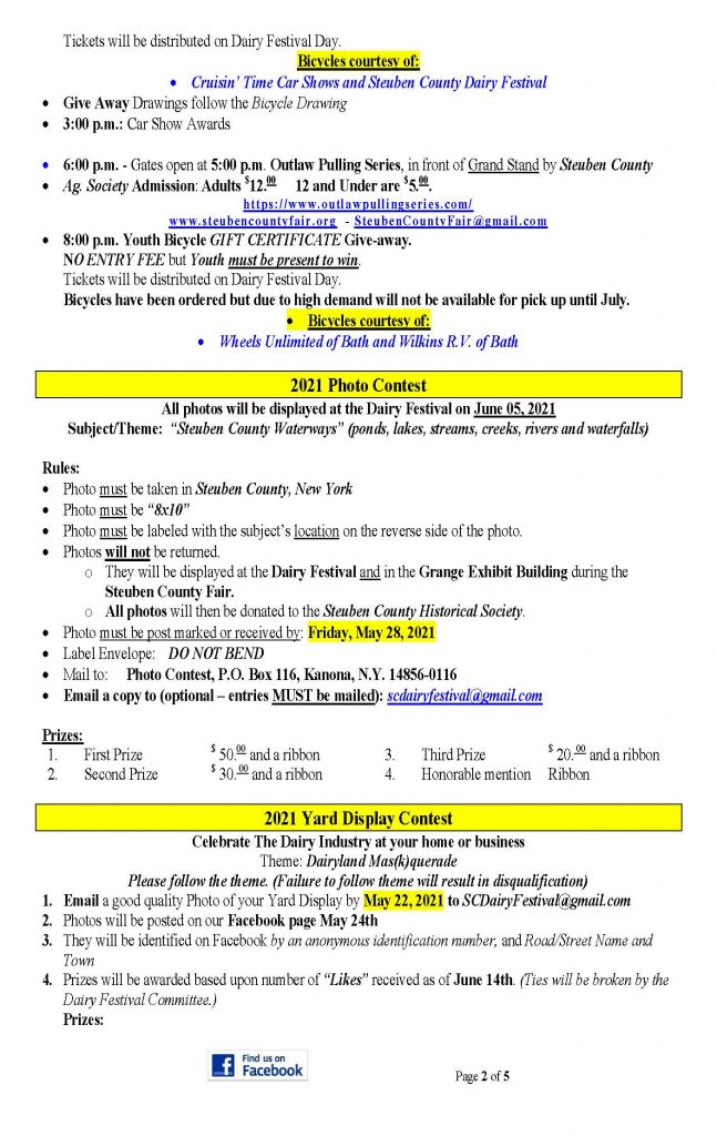 2021 DF Press Release Page 2 647x1024 - Steuben County Dairy Festival Parade and Events Schedule