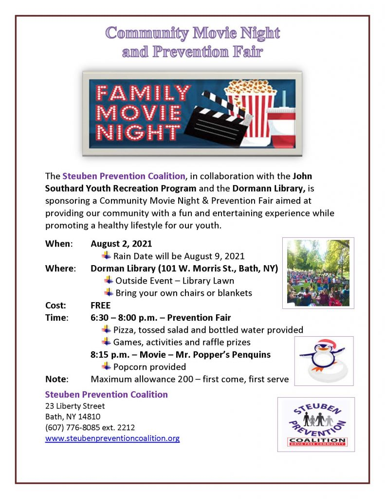 2021 Edith Saxton Grant Movie Night Flyer 791x1024 - Community Movie Night and Prevention Fair