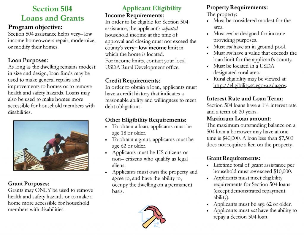 504brochure 1 Page 2 1024x791 - USDA Loan and Grant Programs Offer Homeowners Help
