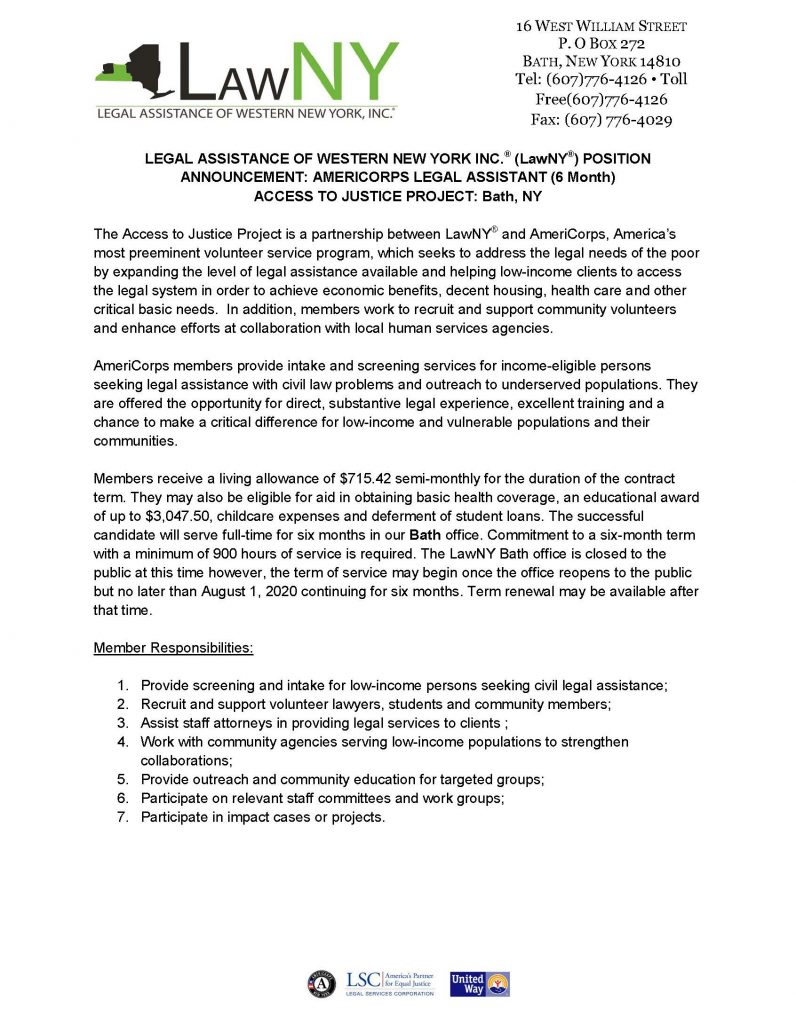 AC Access to Justice 6mo Bath 0420 Page 1 796x1024 - LawNY: AMERICORPS LEGAL ASSISTANT (Bath, NY)