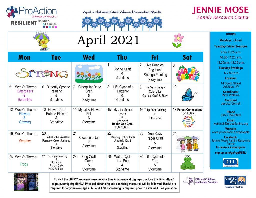 Addison April Calendar 2021 1024x791 - ProAction Family Resource Center Calendars (April)