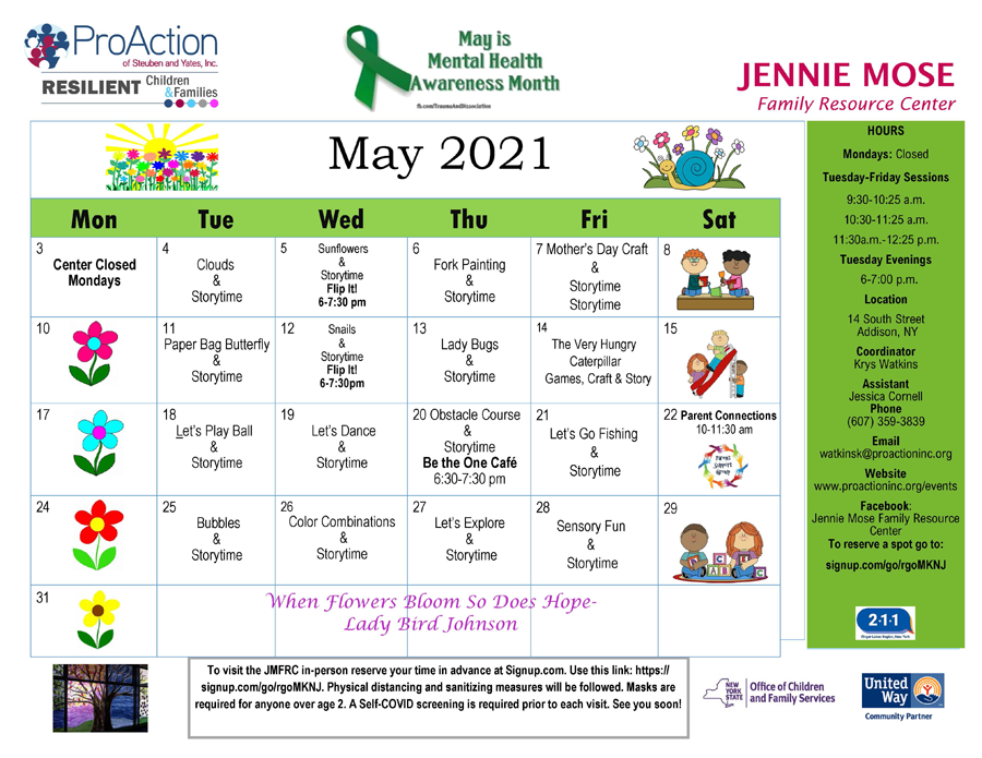 Addison JMFRC Calendar May2021 - Pro Action Resilient Children Family Resource Center May Calendars