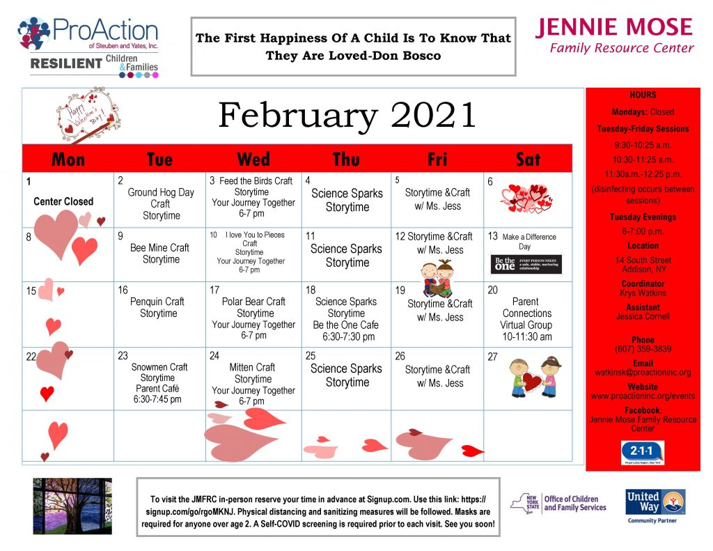 Addison JMFRC February Calendar 2021 1024x791 - February Calendars from Pro Action Family Resource Centers