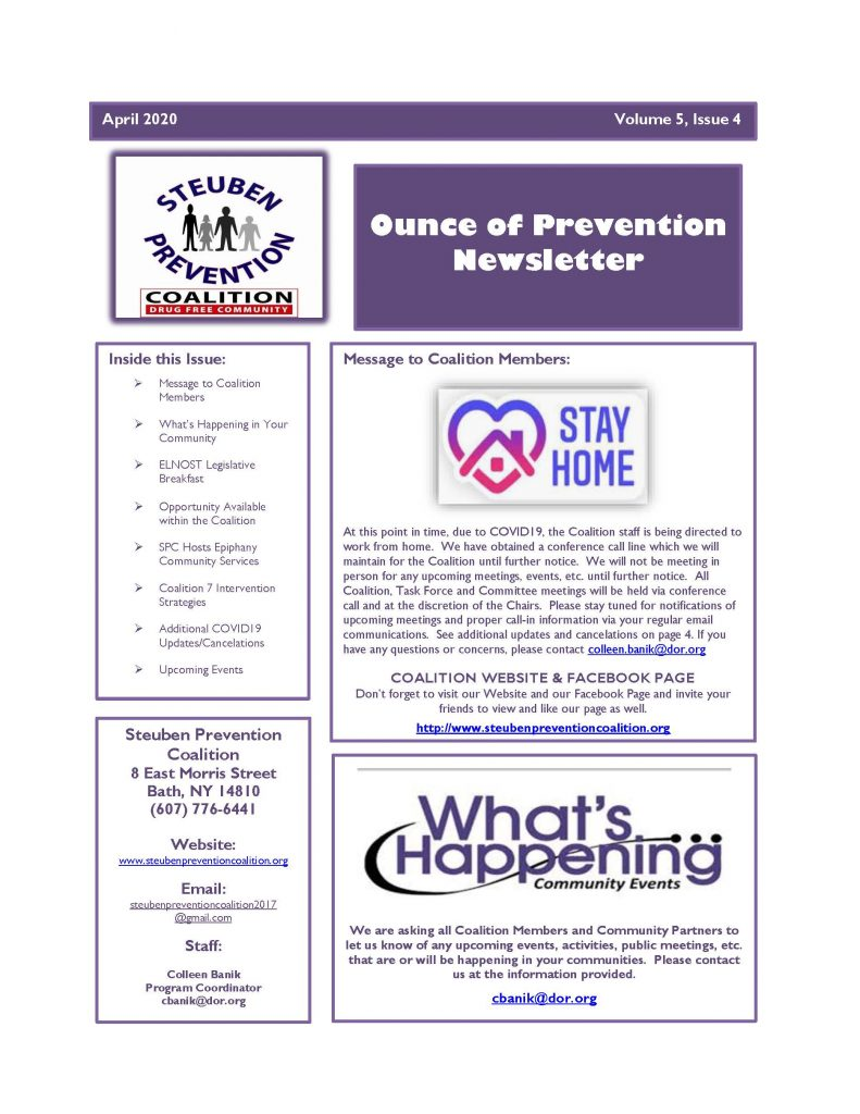 April 2020 Newsletter Page 1 791x1024 - Steuben Prevention Coalition - Ounce of Truth Newsletter