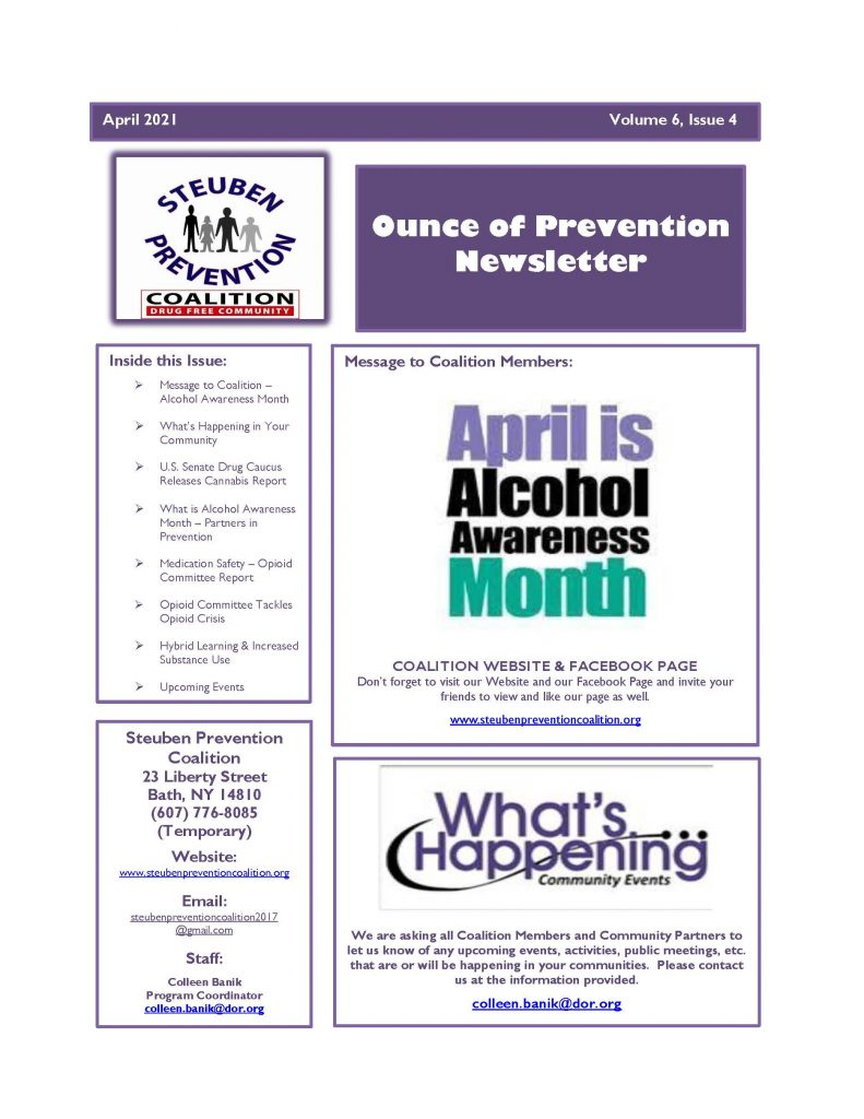 April 2021 Newsletter Page 1 791x1024 - Steuben Prevention Coalition - Ounce of Prevention (April)
