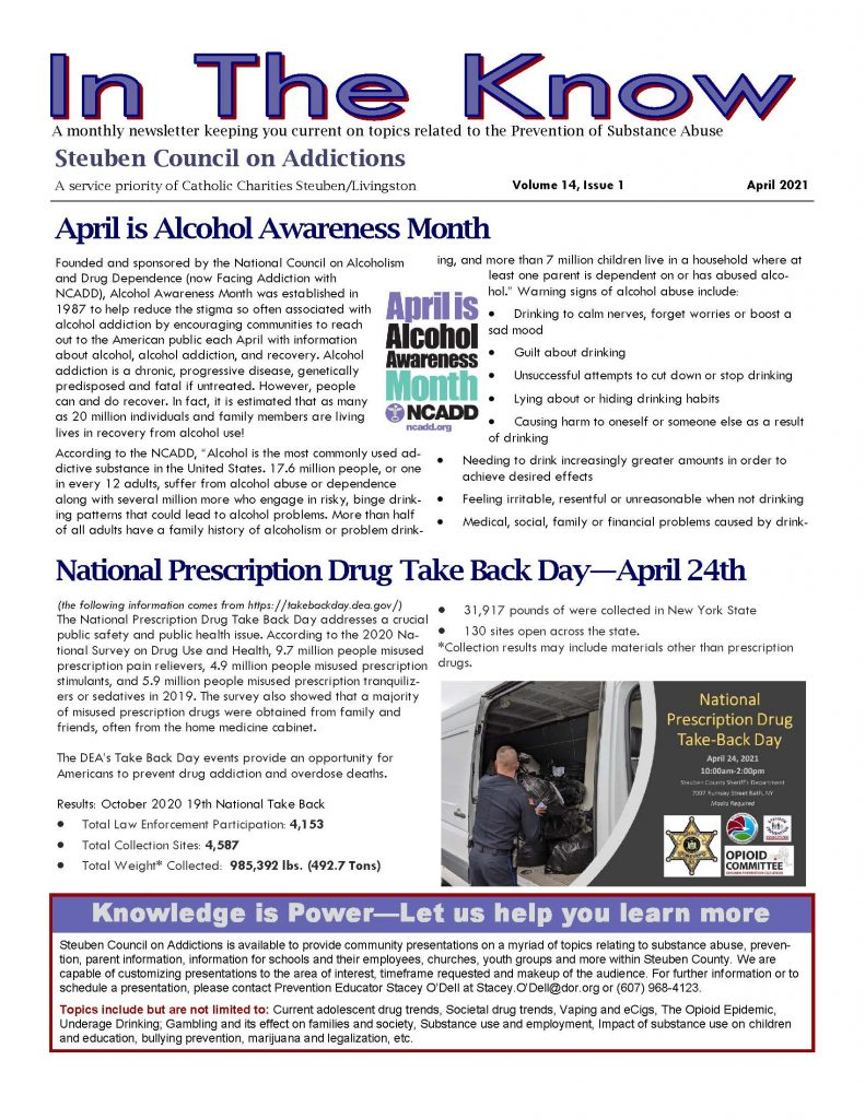April Page 1 1 791x1024 - Steuben Council On Addictions - In the Know (April)