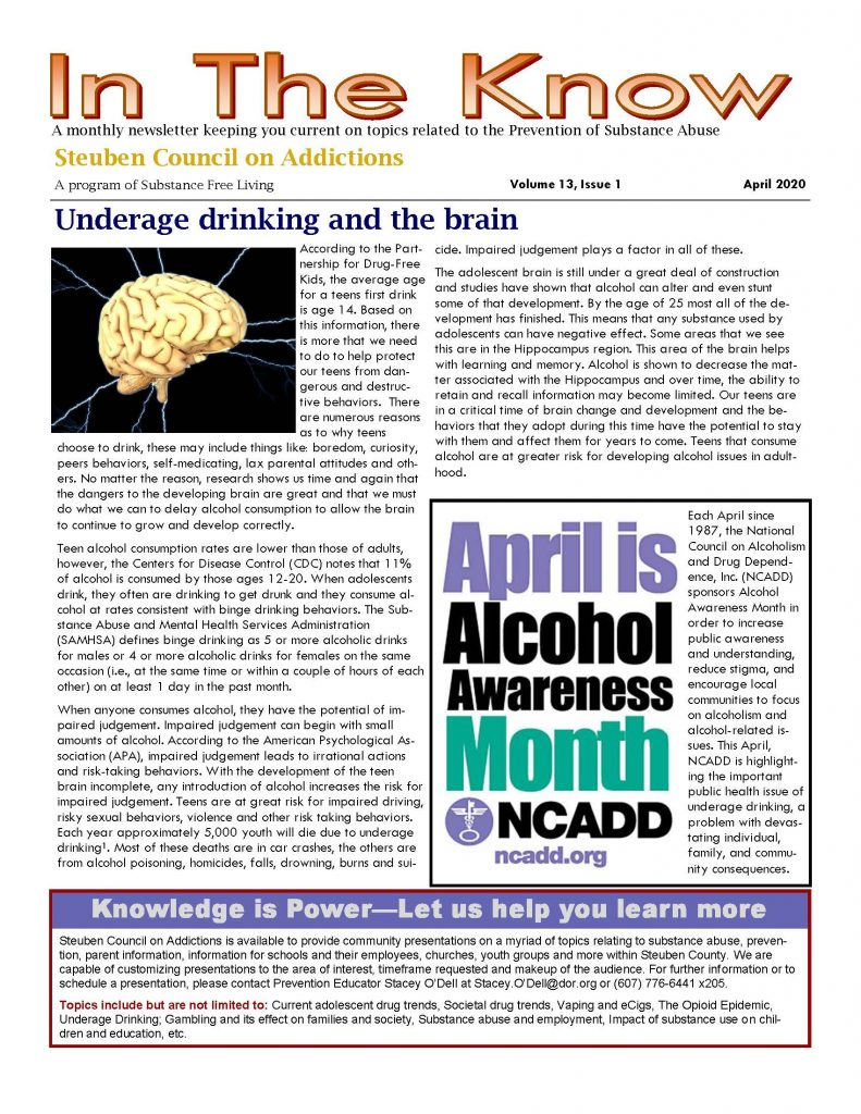 April Page 1 791x1024 - In the Know - Steuben Council on Addictions Newsletter