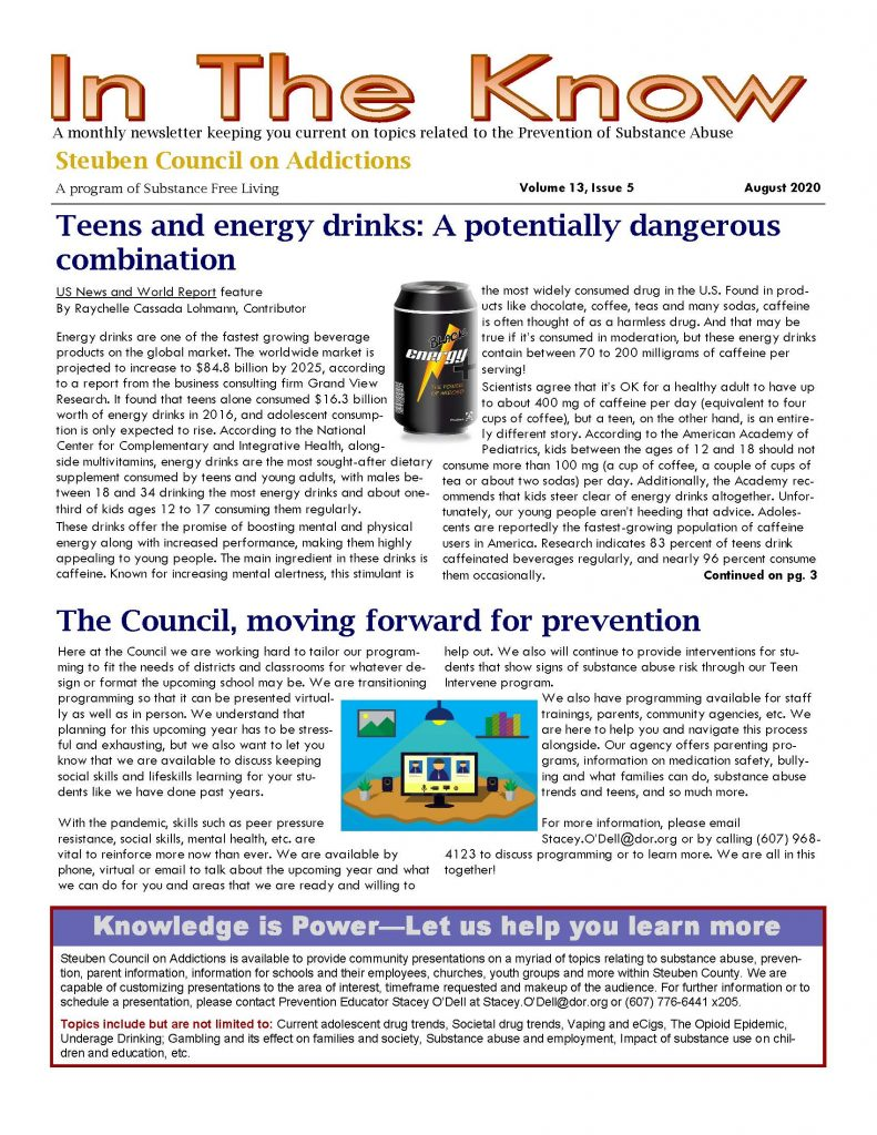 August 1 Page 1 791x1024 - Steuben Council on Addictions - In the Know (August)