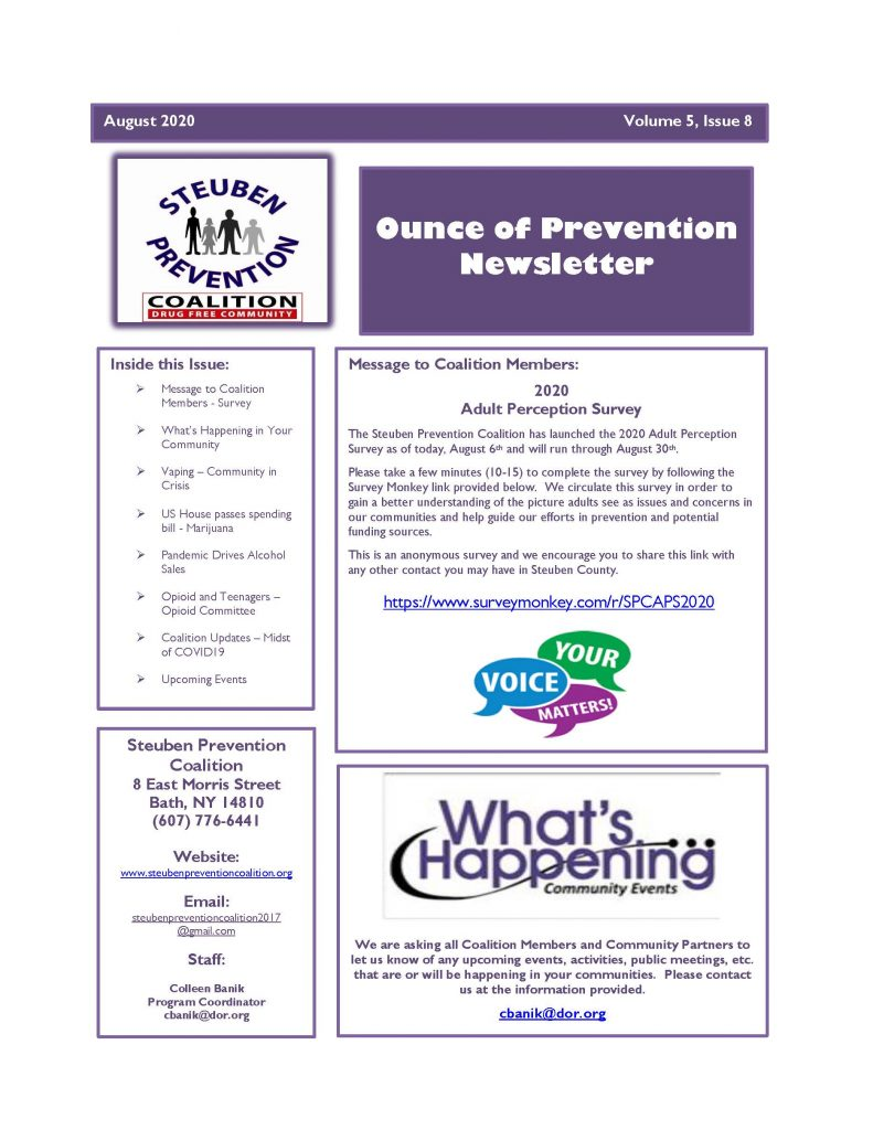 August 2020 Newsletter Page 1 791x1024 - Steuben Prevention Coalition - Ounce of Prevention (August)