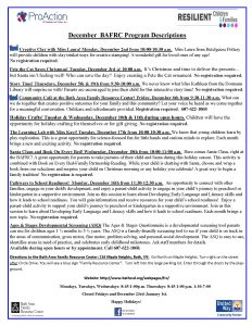 BAFRC December 19 Program Descriptions 232x300 - BAFRC December '19 Program Descriptions
