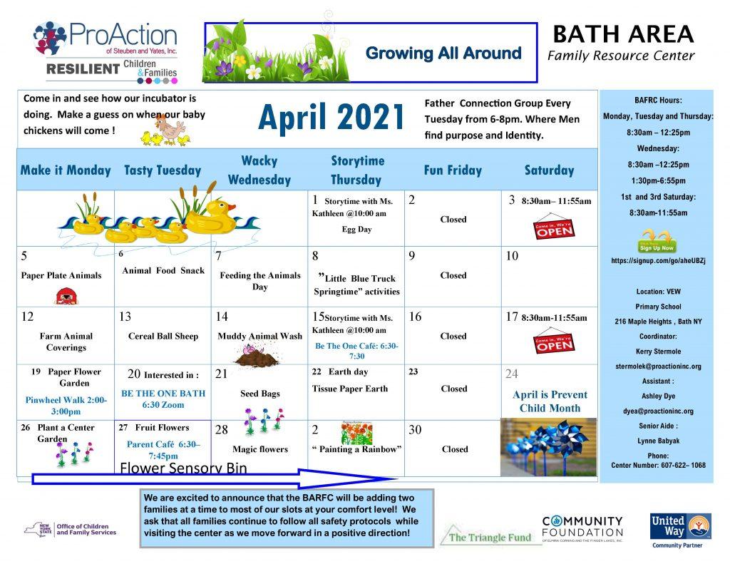 Bath April Calendar 2021 1024x791 - ProAction Family Resource Center Calendars (April)