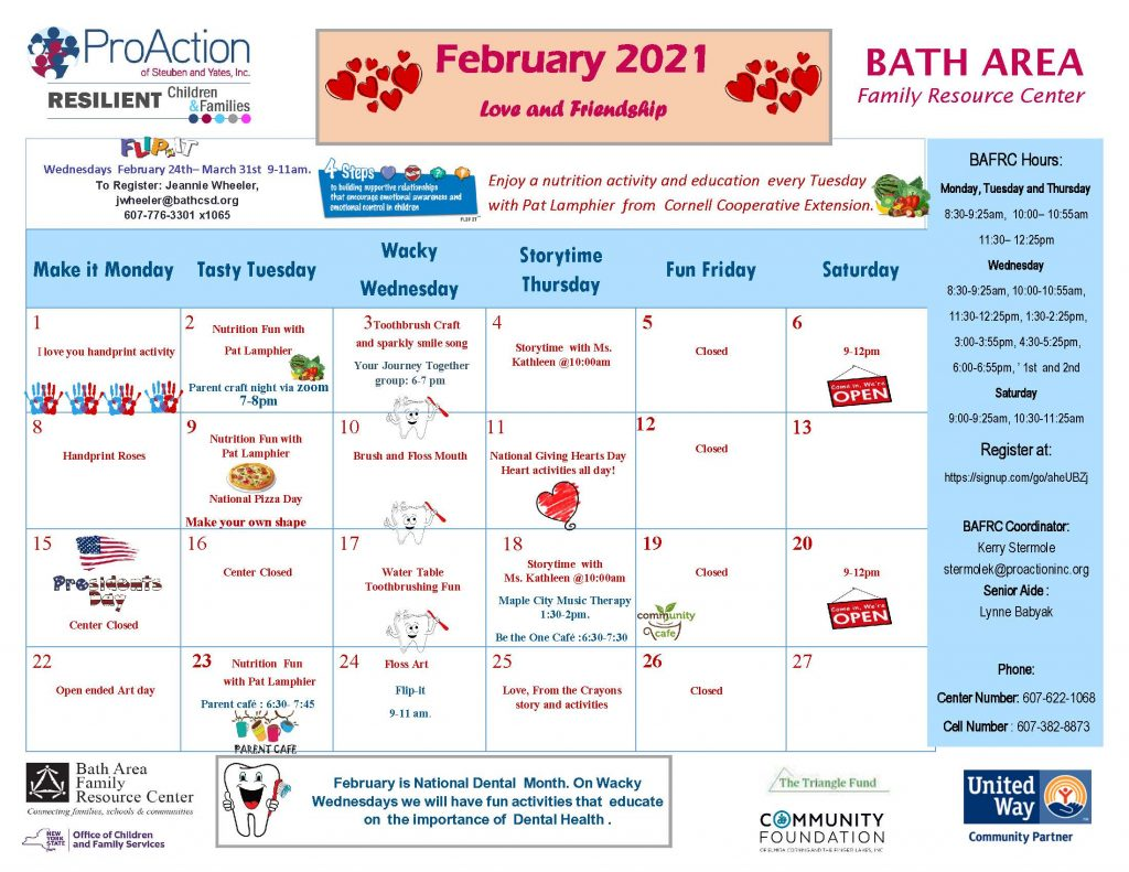 Bath FRC February Calendar 2021 1024x791 - February Calendars from Pro Action Family Resource Centers