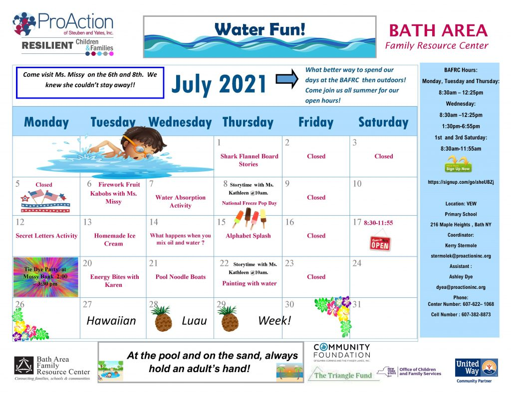 Bath FRC July Calendar 2021  1024x791 - ProAction Family Resource Center Schedules (July)