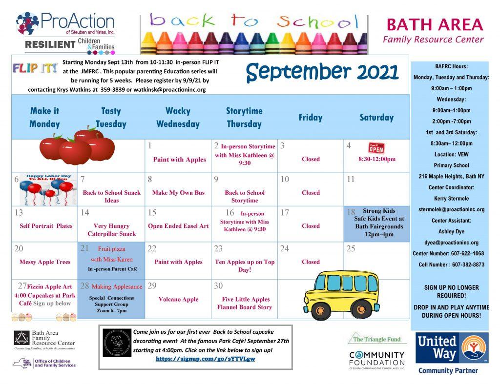 Bath FRC September Calendar 2021 1024x791 - ProAction Family Resource Center Calendars (September)