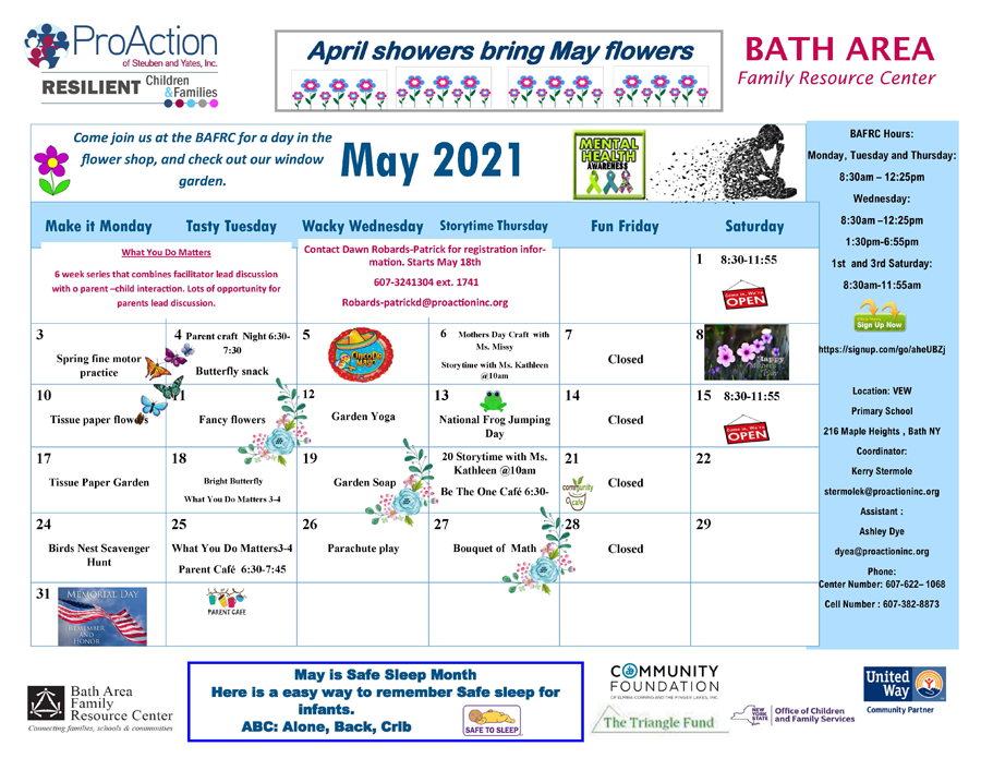 Bath May Calendar 2021 2 1 - Pro Action Resilient Children Family Resource Center May Calendars