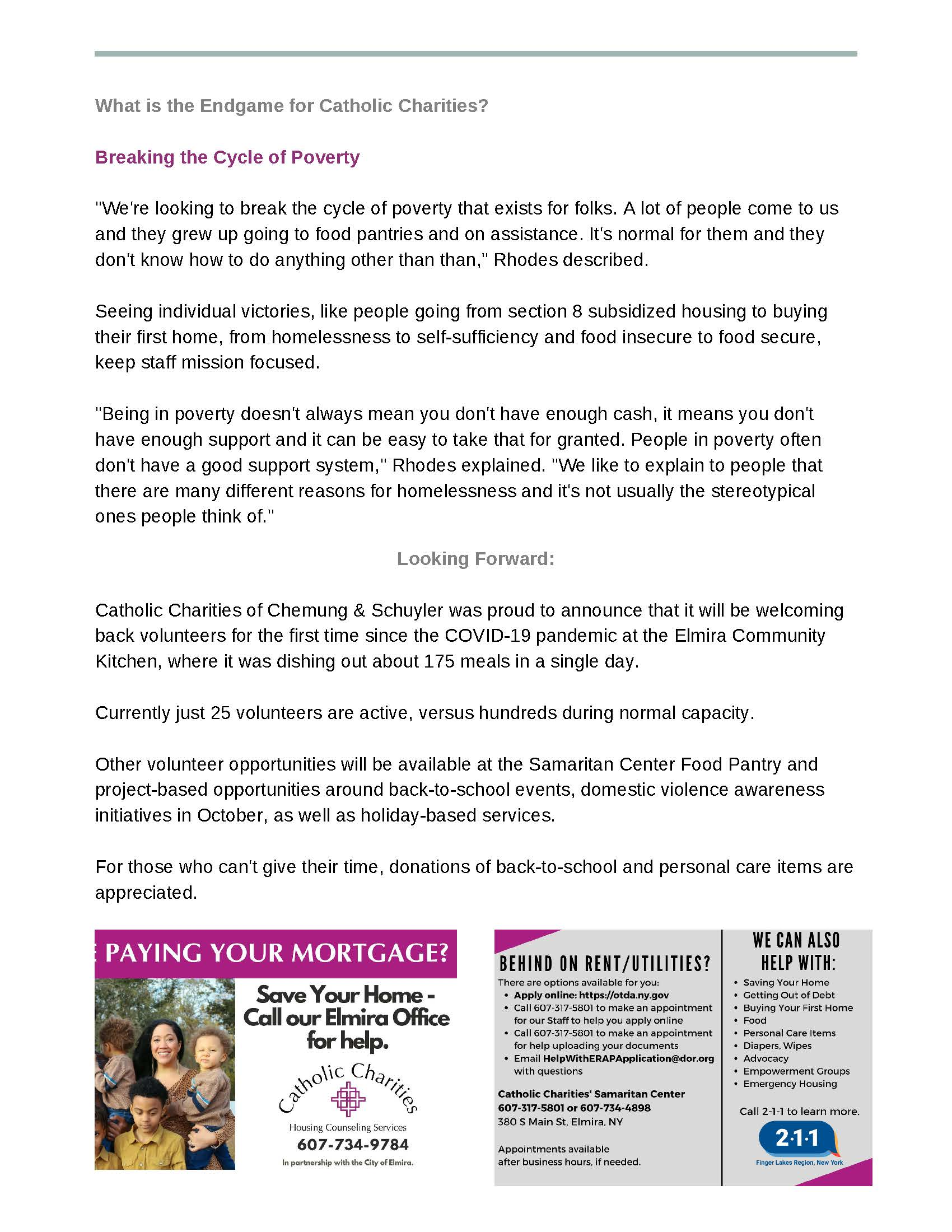 """CCE Steuben Profile 1 Page 3 - Member Profile"""" Catholic Charities Chemung & Schuyler"""