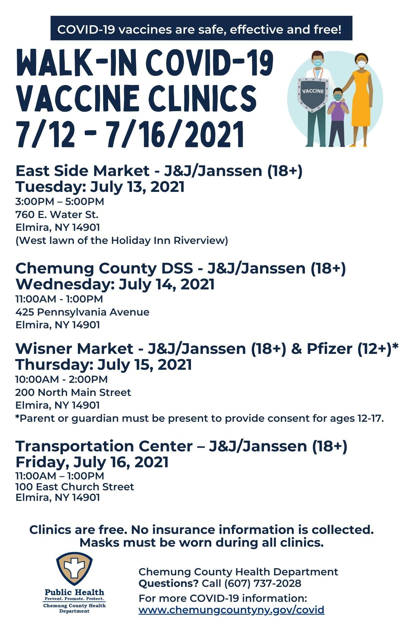 CCHD Clinics 7.12 through 7.16 - Chemung County COVID-19 Vaccine Clinics this Week