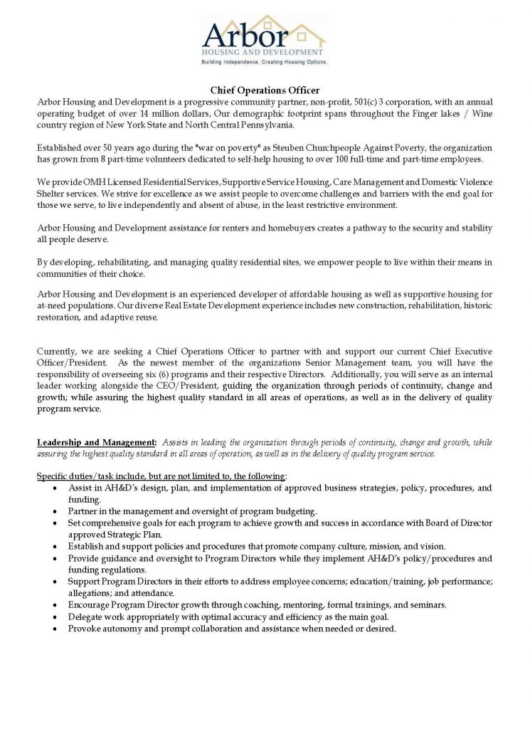 COO Advertisement 03 2021 Page 1 745x1024 - Job Post: Chief Operations Officer - Arbor Housing and Development