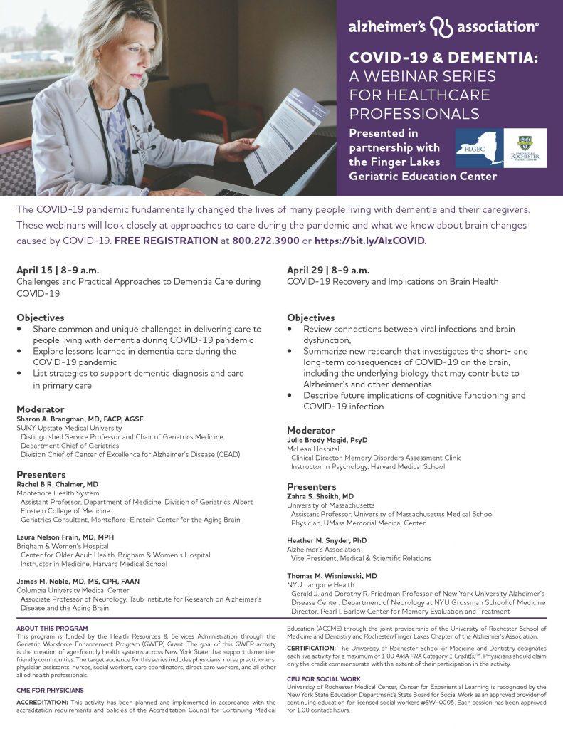 COVID 19 Dementia 791x1024 - Alzheimer's Association Covid-19 & Dementia Webinar Series Continues