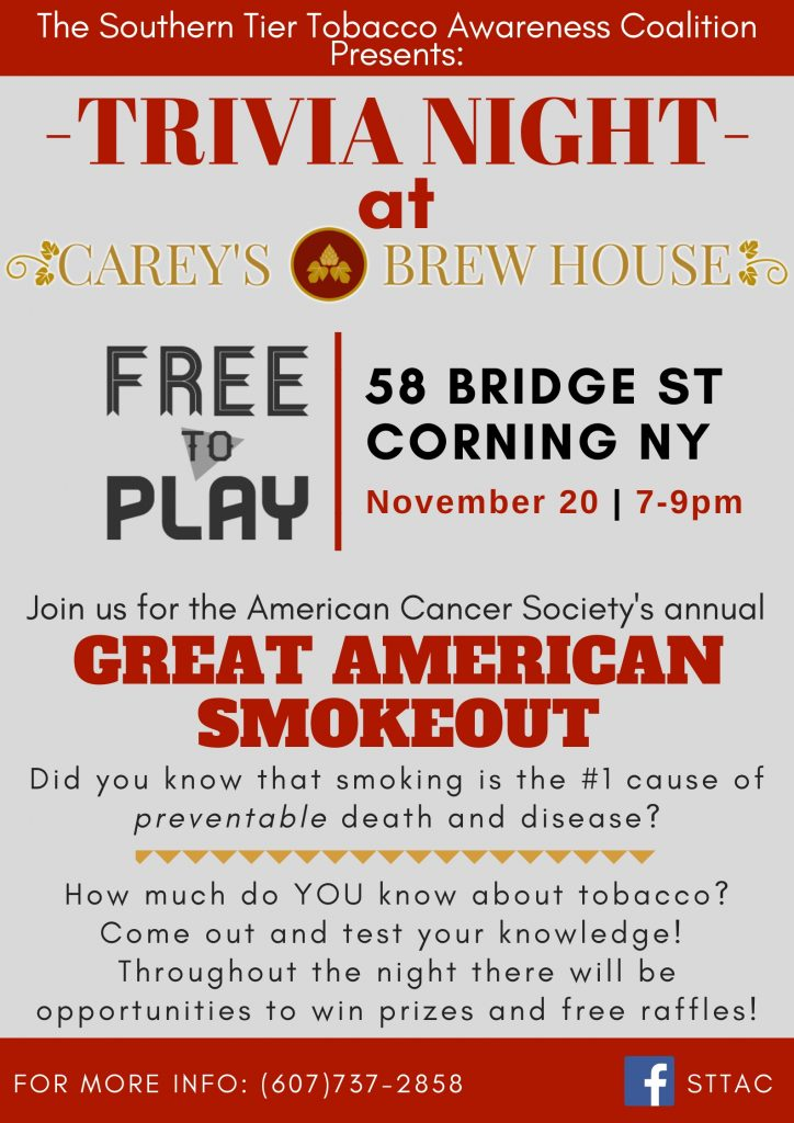 Careys Brewhouse Trivia 11.20.19 724x1024 - Great American Smokeout Trivia Night