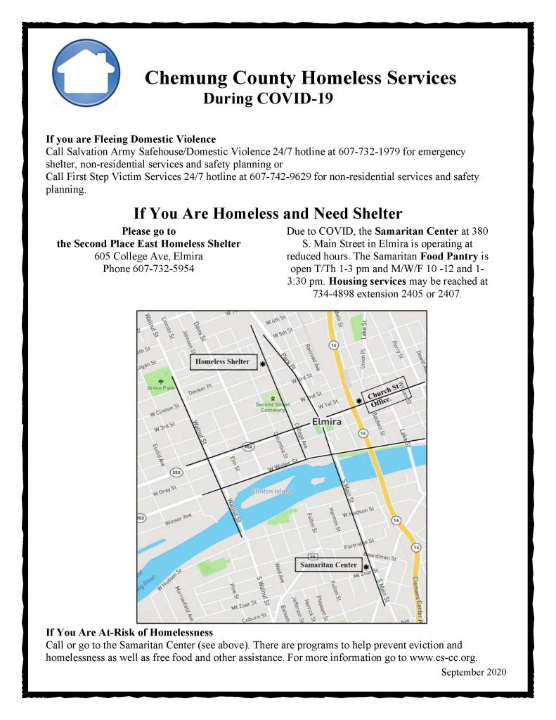 Chemung COVID Homeless Services Flier Sept 2020 1 791x1024 - Chemung County Shares Homeless Service Sites During COVID-19