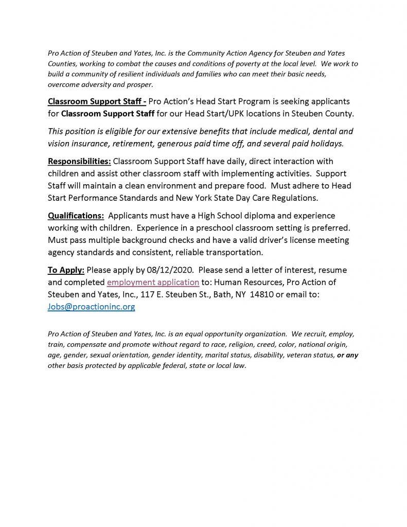 Classroom Support Staff Steuben County 791x1024 - Job Post: ProAction Seeks Headstart Classroom Support Staff (Steuben County)