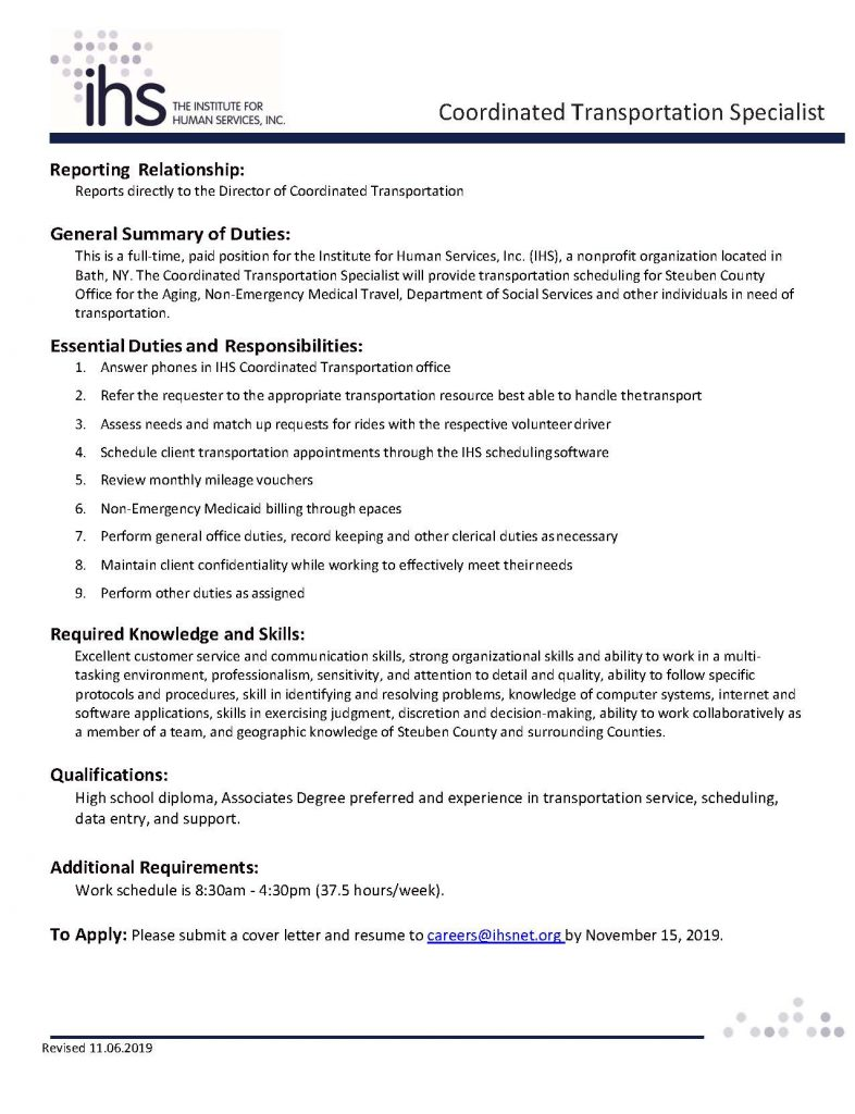 Coodinated Transportation Specialist 002 786x1024 - Job Post: IHS Coordinated Transportation Specialist - Bath