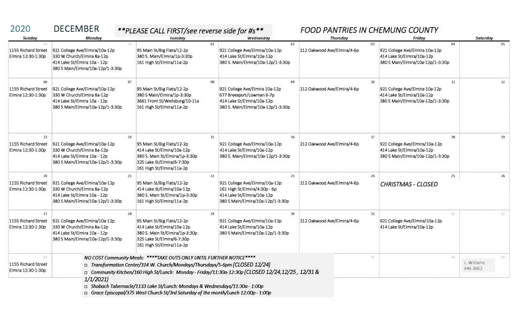 Copy of DECEMBER 2020 1024x622 - Chemung County Food Pantry Schedule and Directory (December)