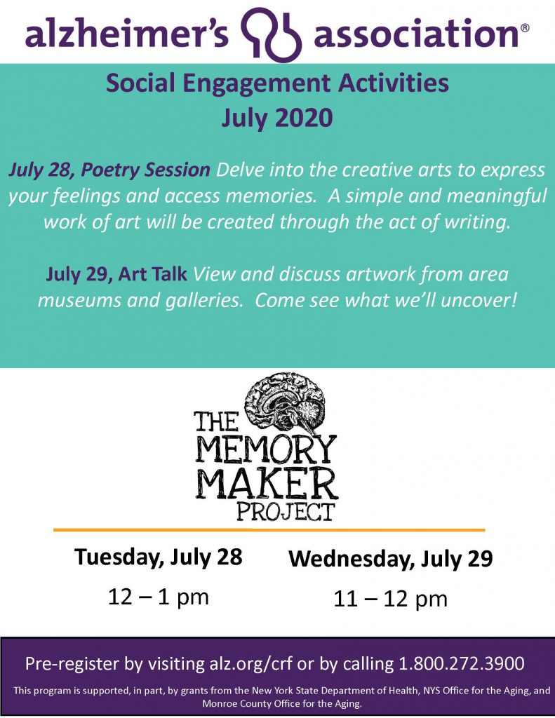 Copy of FINAL Memory Maker Flyer July20 002 791x1024 - Alzheimer's Association Resources and Upcoming Events