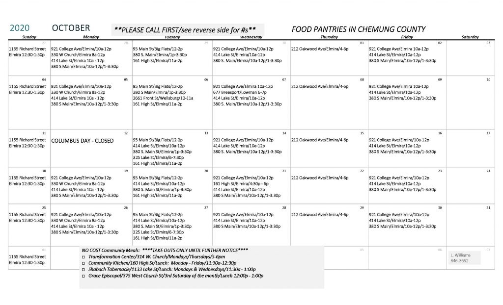 Copy of OCTOBER 2020 1 1024x622 - Chemung County Food Pantry Schedule and Directory