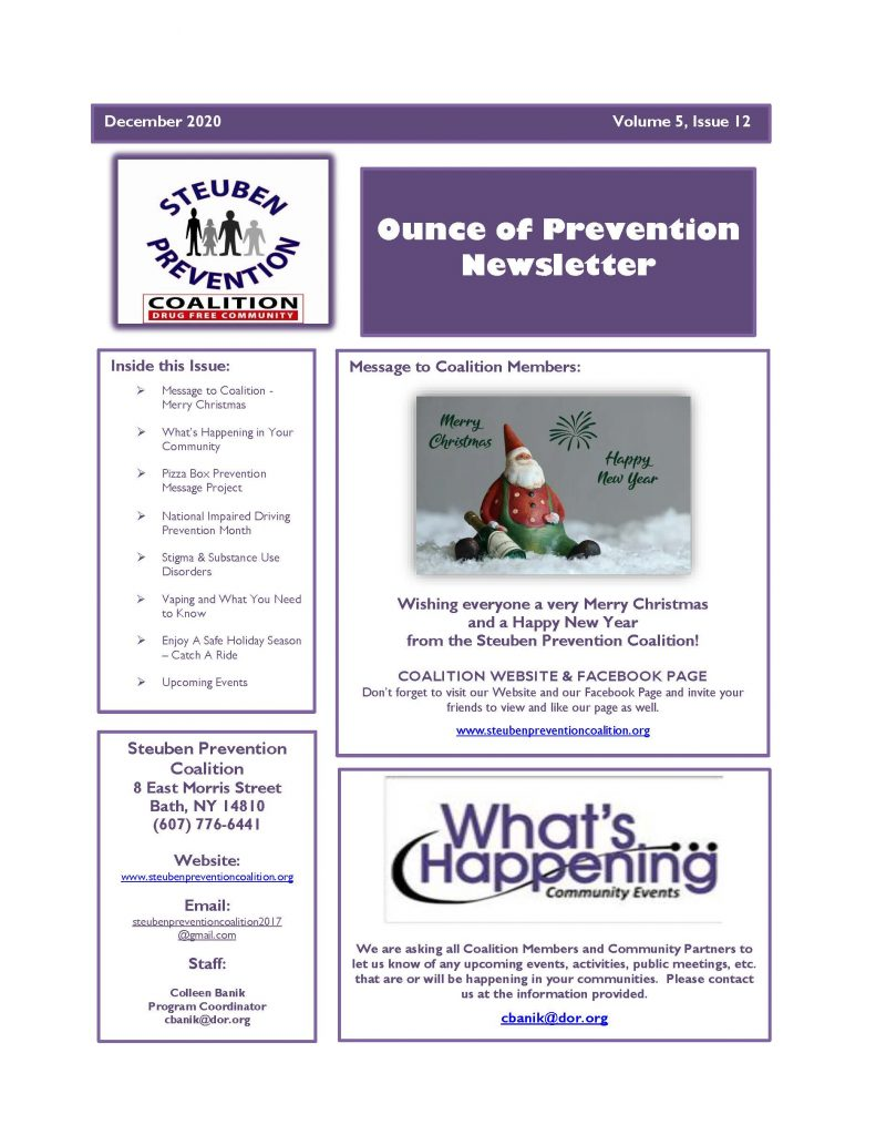 December 2020 Newsletter Page 1 791x1024 - Steuben Prevention Coalition - Ounce of Prevention (December)