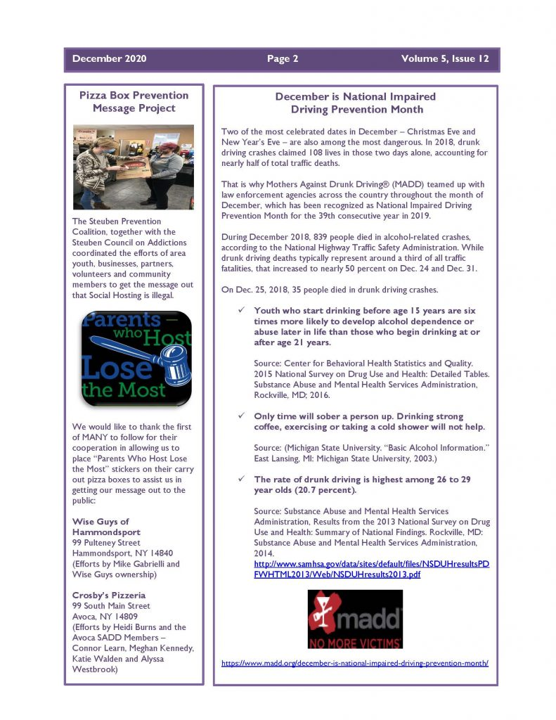 December 2020 Newsletter Page 2 791x1024 - Steuben Prevention Coalition - Ounce of Prevention (December)