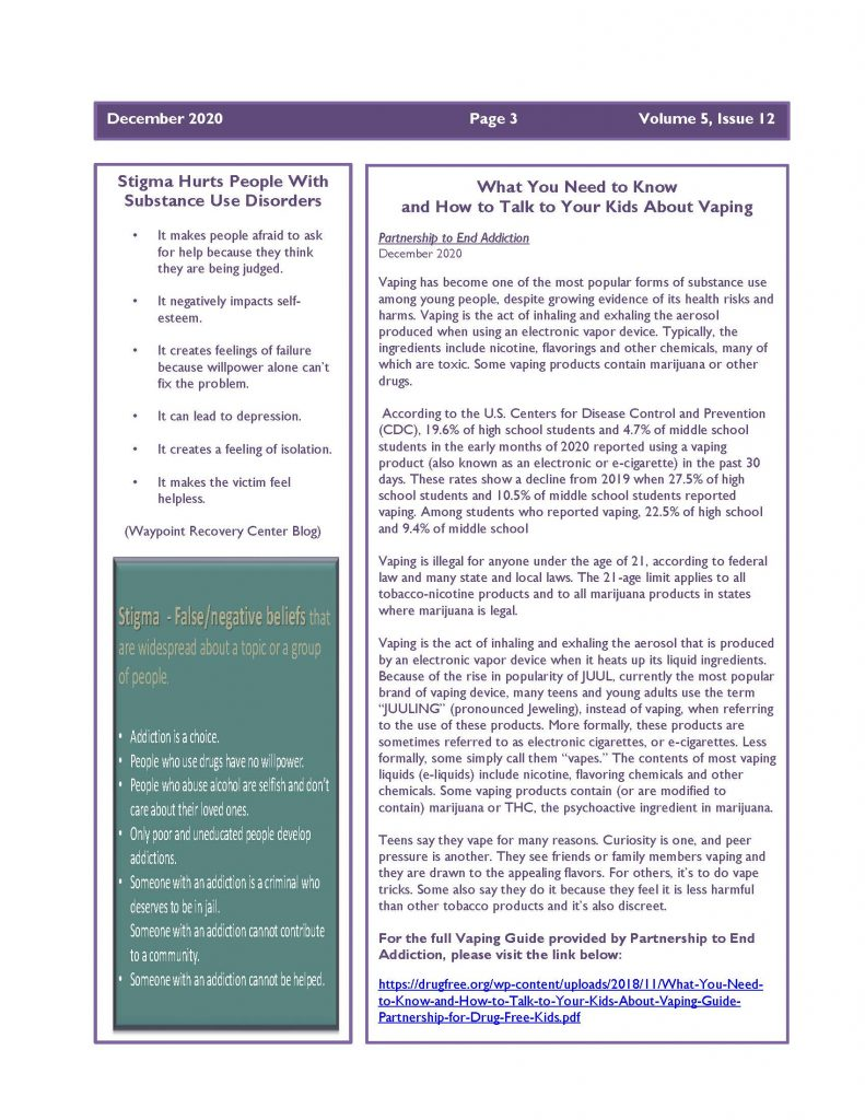 December 2020 Newsletter Page 3 791x1024 - Steuben Prevention Coalition - Ounce of Prevention (December)