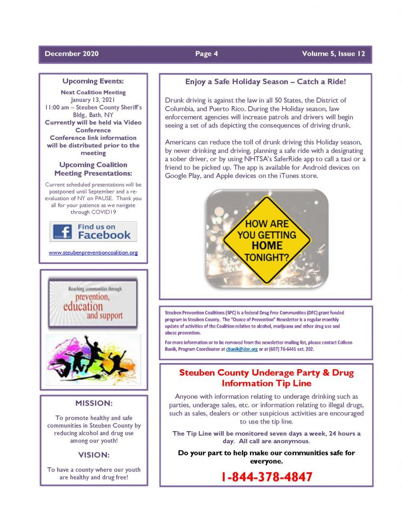 December 2020 Newsletter Page 4 791x1024 - Steuben Prevention Coalition - Ounce of Prevention (December)