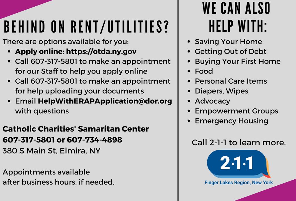 ERAP EDDM Chemung front 1 - Catholic Charities Chemung-Schuyler Offering Emergency Rental Assistance Program
