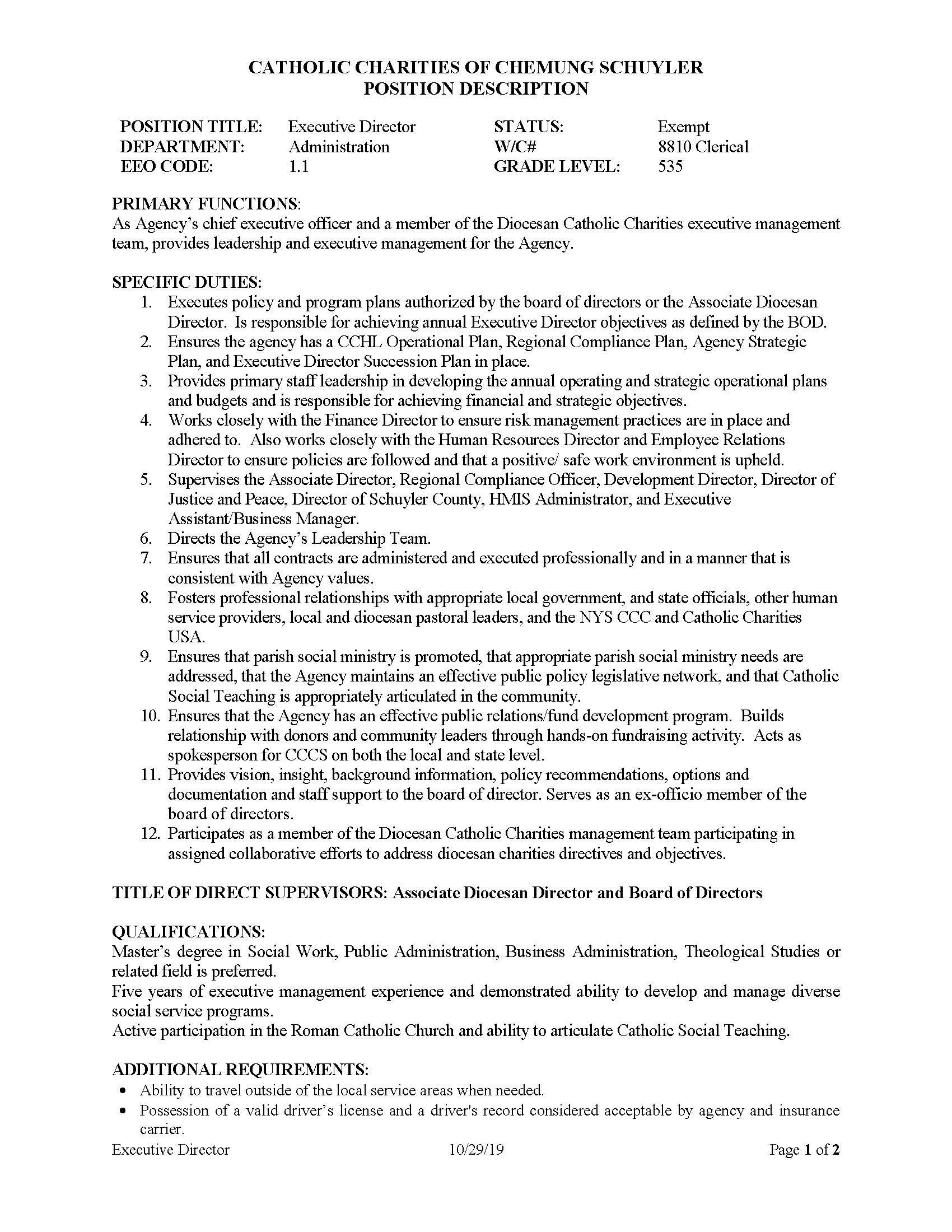 Executive Director Page 1 - Job Post: Catholic Charities of Chemung/Schuyler Executive Director