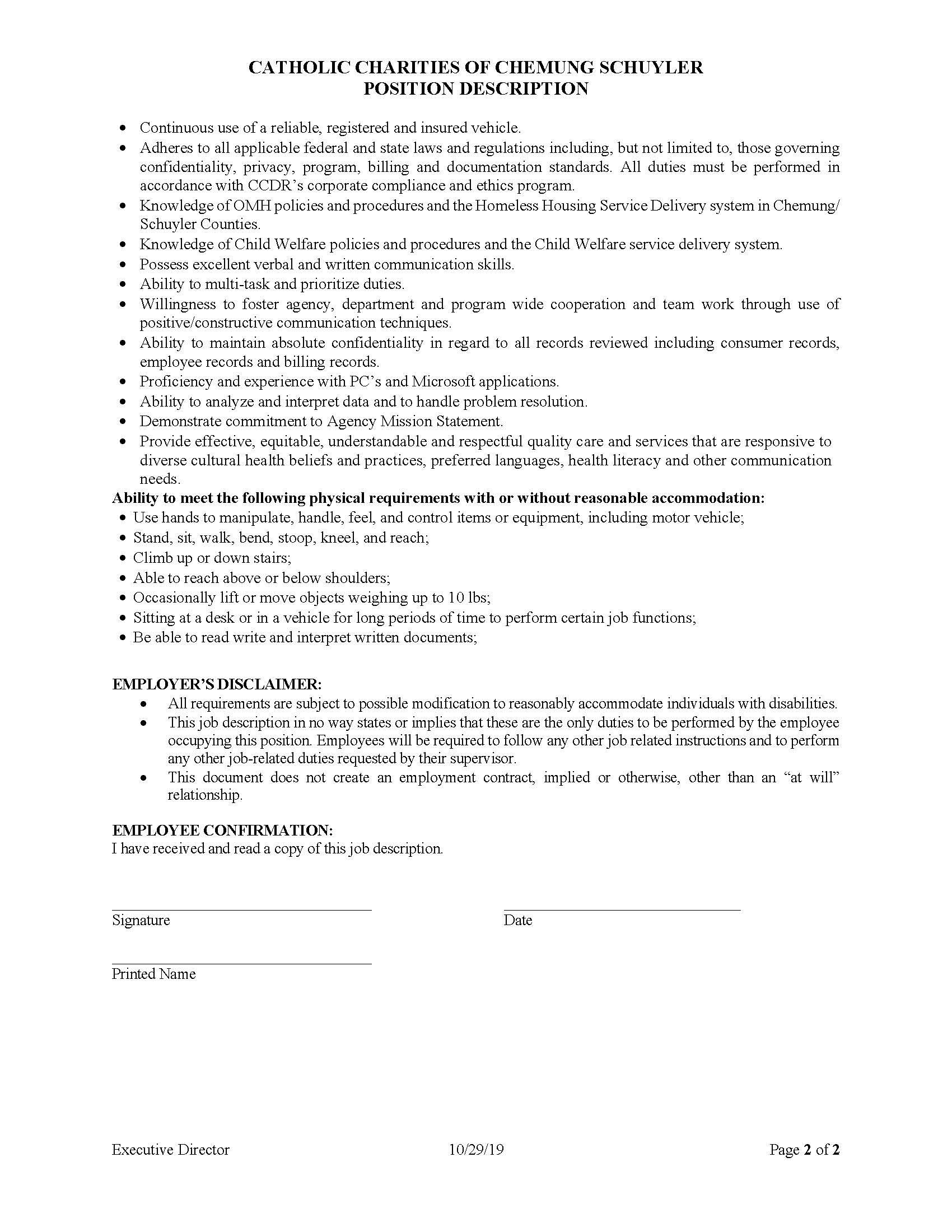 Executive Director Page 2 - Job Post: Catholic Charities of Chemung/Schuyler Executive Director
