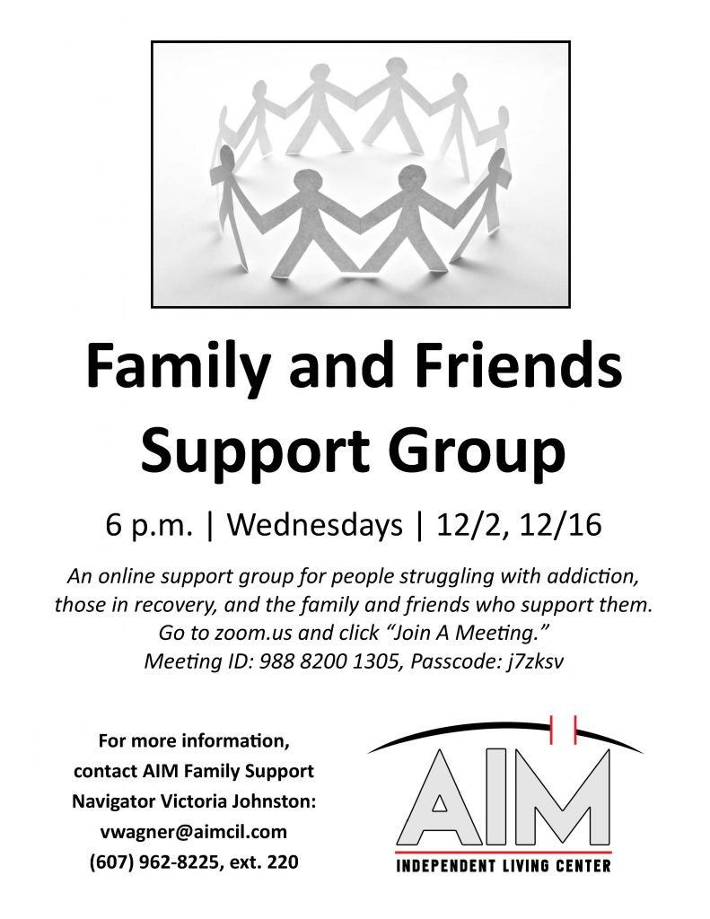 Family and Friends Support Group flyer 1 791x1024 - AIM Family and Friends Support Group to Meet 12/2 and 12/16