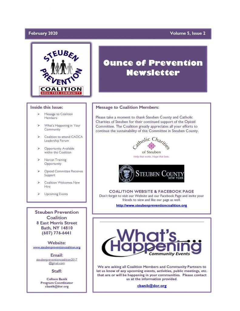 Feb 2020 Newsletter Page 1 791x1024 - Steuben Prevention Coalition - Ounce of Prevention (February)