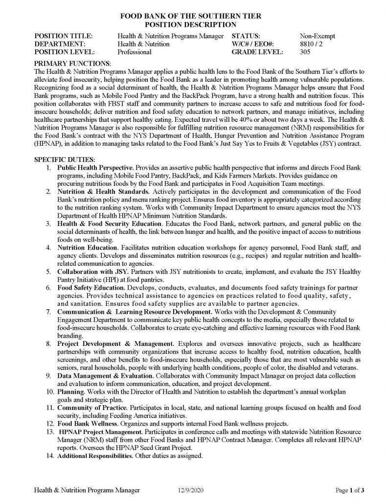 Health Nutrition Programs Manager Page 1 791x1024 - Job Post: Director of Health & Nutrition - Food Bank of the Southern Tier