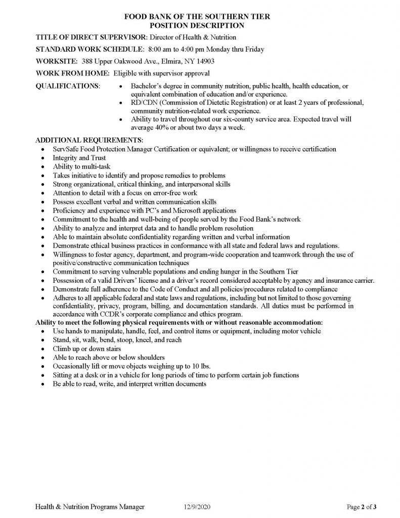 Health Nutrition Programs Manager Page 2 791x1024 - Job Post: Director of Health & Nutrition - Food Bank of the Southern Tier