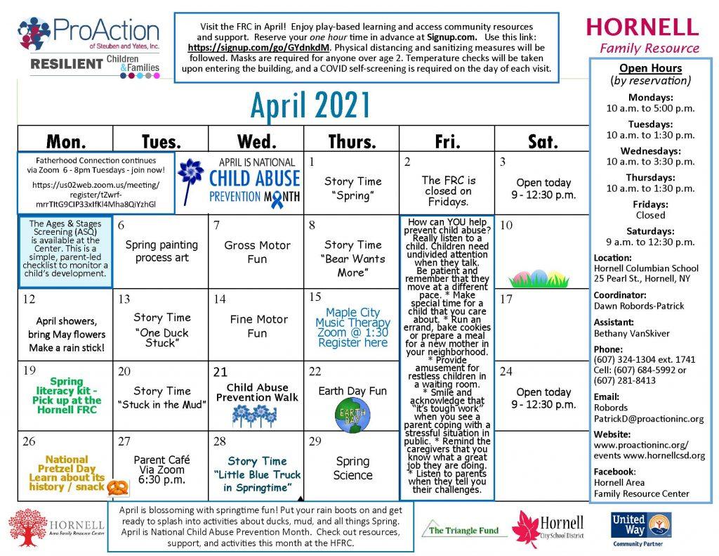Hornell FRC April Calendar 2021 1024x791 - ProAction Family Resource Center Calendars (April)