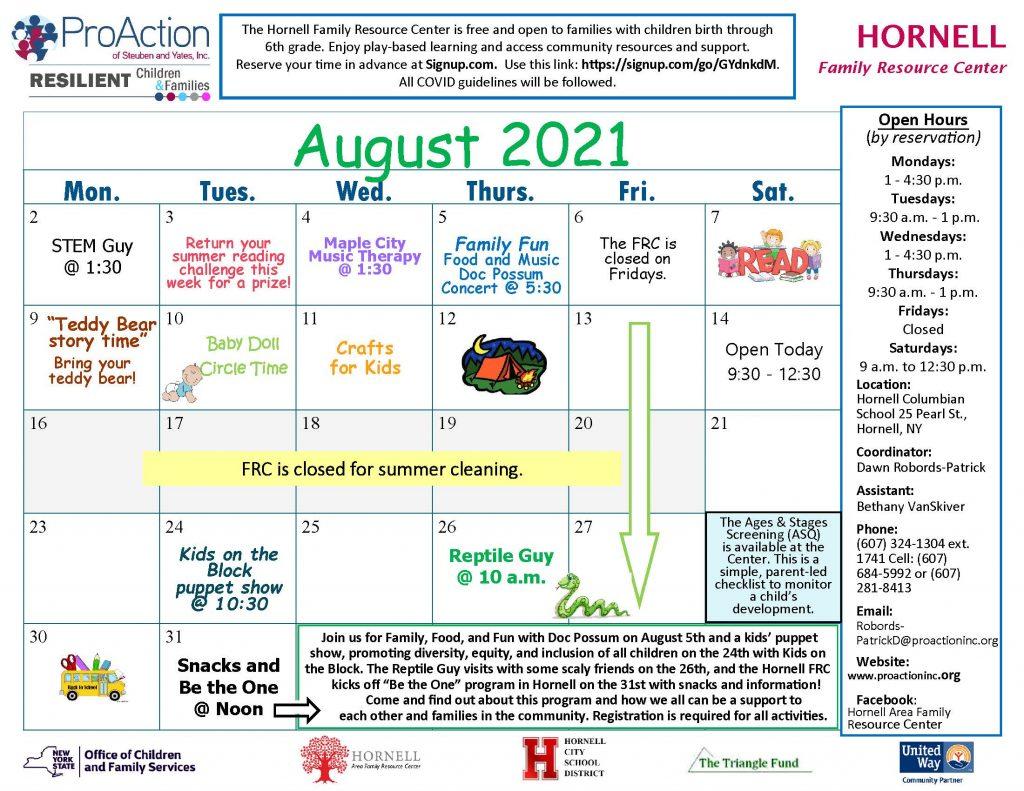 Hornell FRC August Calendar 2021 1024x791 - ProAction Family Resource Center August Schedules