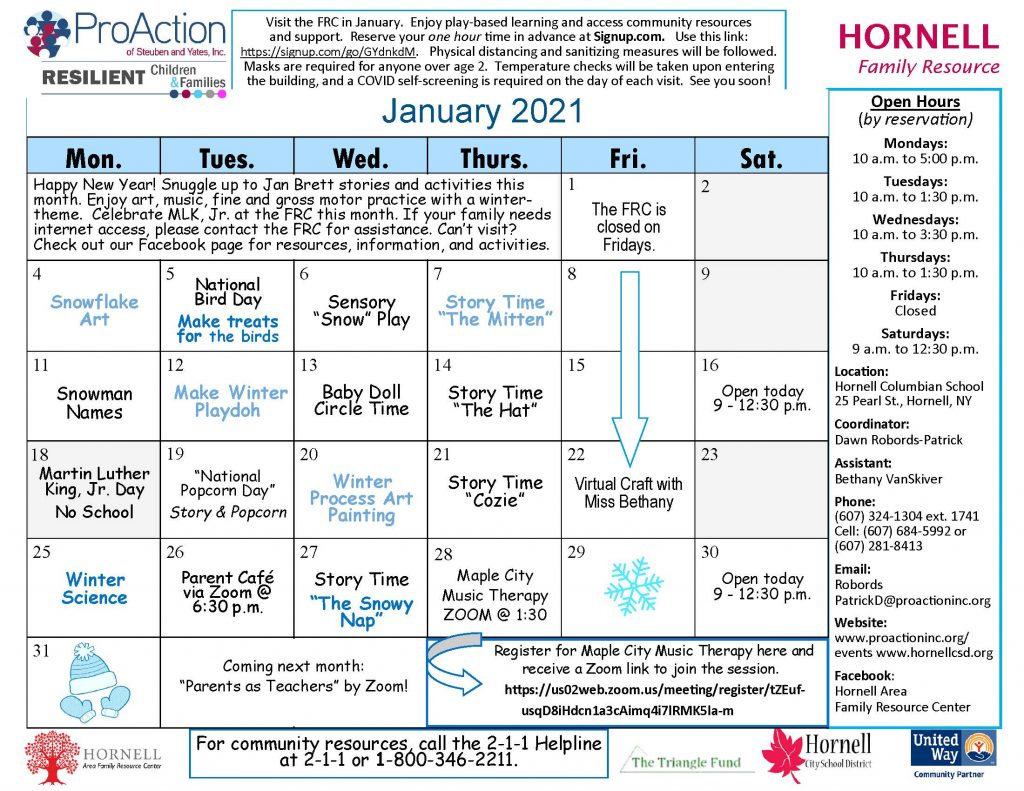 Hornell FRC Calendar January 2021 1024x791 - Resilient Children and Families Community Calendar and Offerings