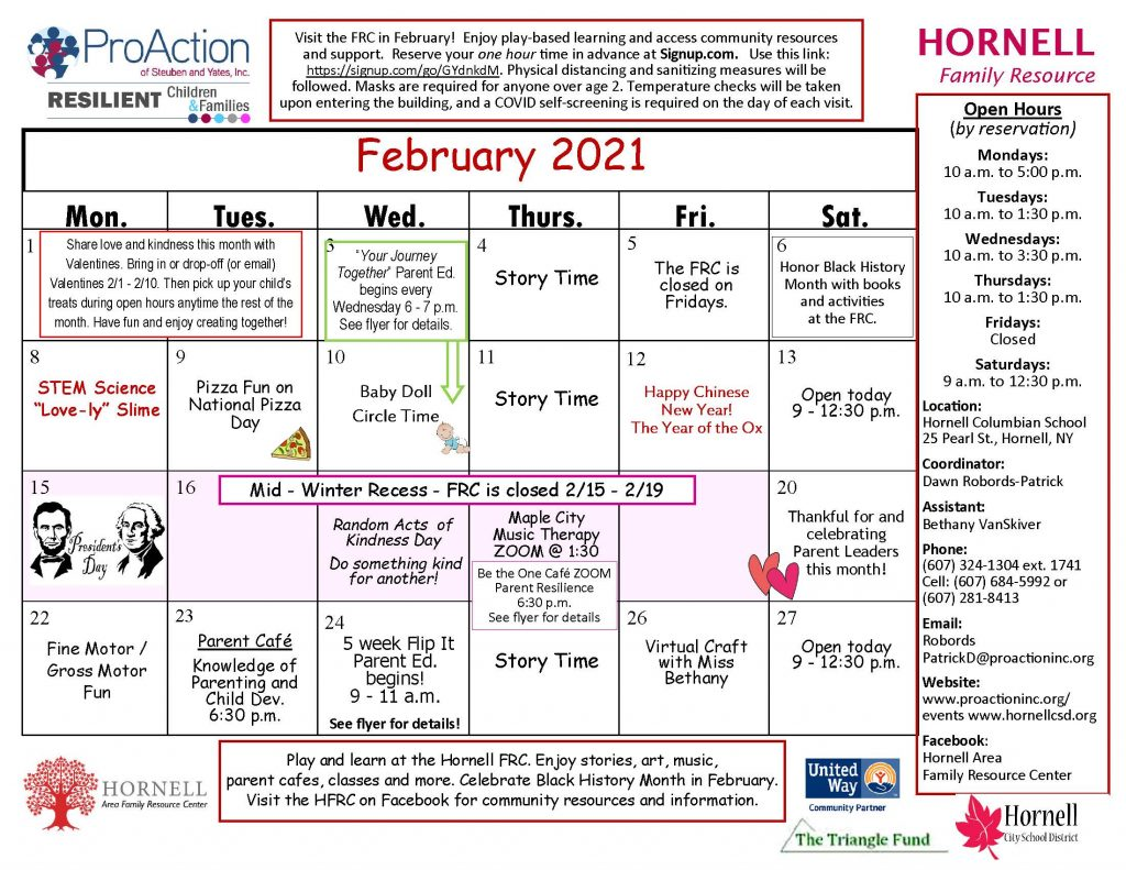 Hornell FRC February Calendar 2021 1024x791 - February Calendars from Pro Action Family Resource Centers