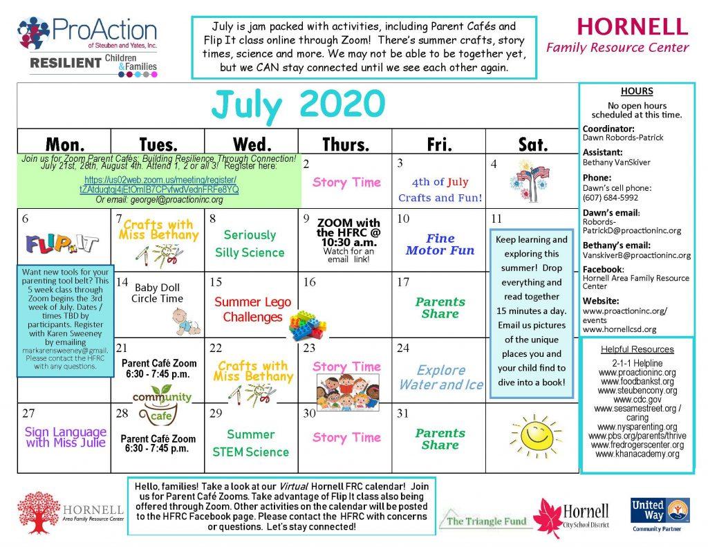 Hornell FRC July 2020 calendar 1024x791 - Resilient Children and Families Community Calendars