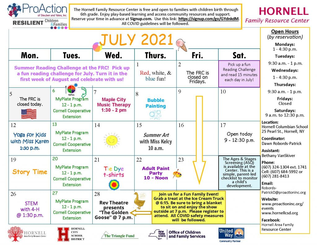 Hornell FRC July Calendar 2021 1024x791 - ProAction Family Resource Center Schedules (July)