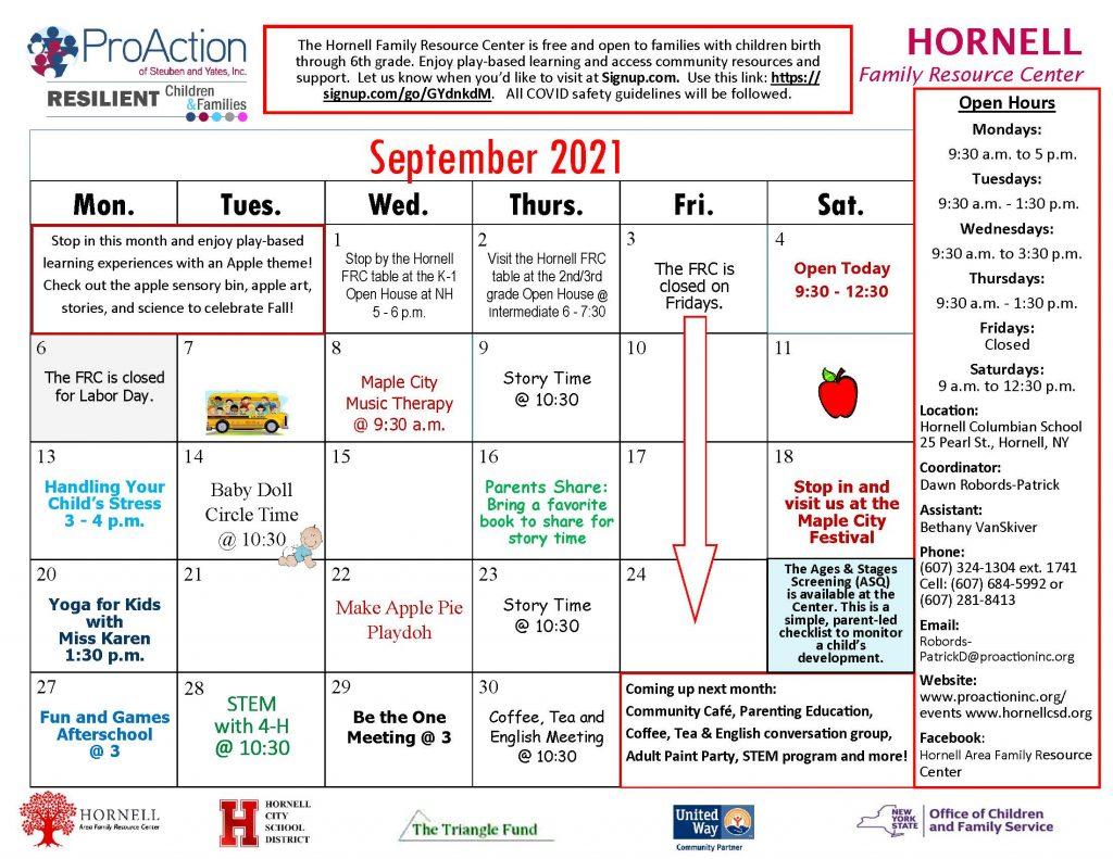 Hornell FRC September Calendar 2021 1024x791 - ProAction Family Resource Center Calendars (September)