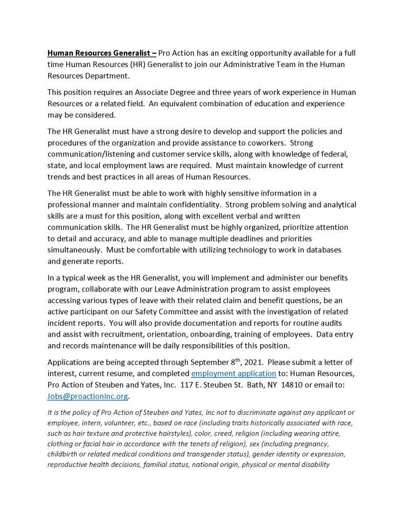 Human Resources Generalist Page 1 791x1024 - Job Post: Human Resources Generalist (Full Time) ProAction